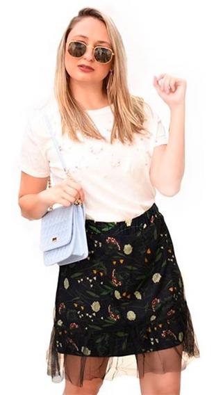 Saia Midi De Tule Forrada Estampada Moda Blogueira