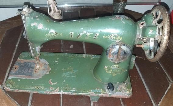 Máquina De Costura Antiga Axel Funcionando Completa Em Ferro