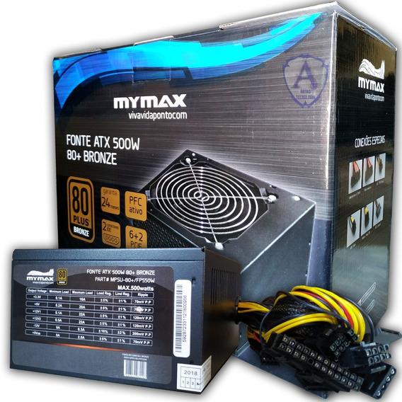 Fonte 500 Watts 80 Plus Mymax Nota Fiscal Garantia De 2 Anos
