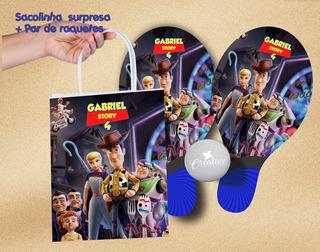 Raquetes De Ping Pong E Sacola 20 Pares - Toy Story 4
