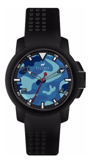 Reloj Analógico Steiner Fondo Camuflaje Azul St22450h