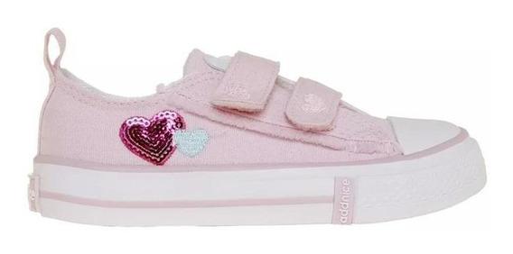 Addnice Zapatillas Bebe - Corazón Velcro Rosa