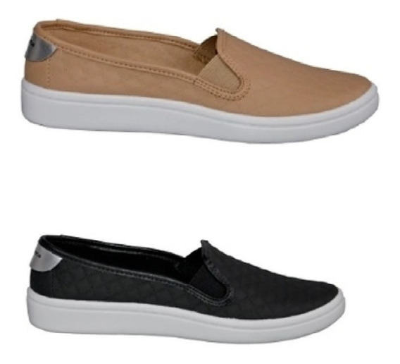 2 Sapatilhas Moleca Feminino Slip On Matelassê Sapato
