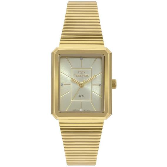 Relógio Technos Feminino Ref: 2035mrb/4x Quadrado Dourado