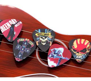 Pak Con 10 Puas Para Guitarra O Bajo Grupos De Rock Variado