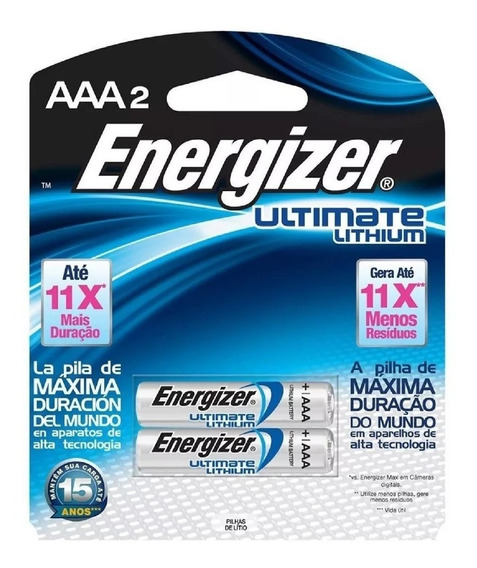 02 Pilhas 1.5v Energizer Ultimate Lithium Aaa2 Palito