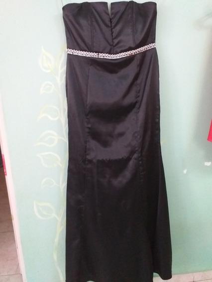 Vestido De Fiesta Negro Con Strass Y Perlas