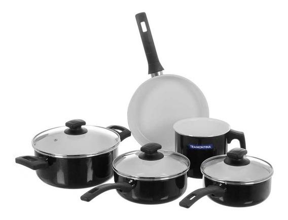Batería De Cocina Antiadherente Ceramico Tramontina Quebec Negro Set 5 Piezas