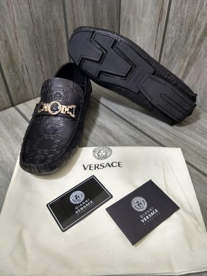 Zapato Mocasines De Vestir Versace Medusa Black Envío Gratis