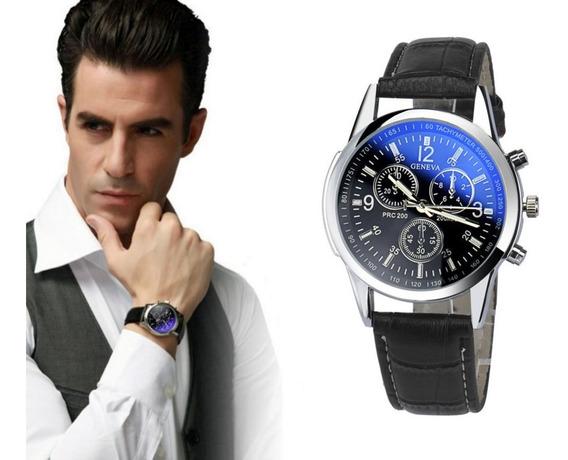 Relógio Masculino Pulseira De Couro Quartzo Social Militar Geneva Promoção