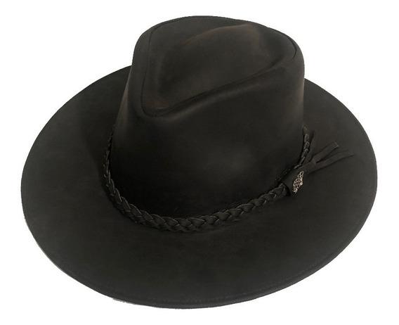 Sombrero Color Negro 100% De Cuero Importado Del Ecuador