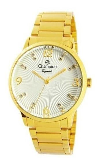 Relogio Feminino Champion Dourado Cn25556h - Original Oferta