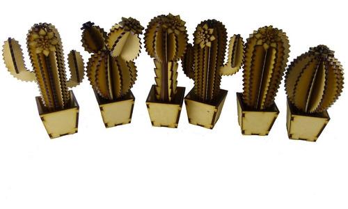 Cactus De Madera Para Souvenir O Decorar