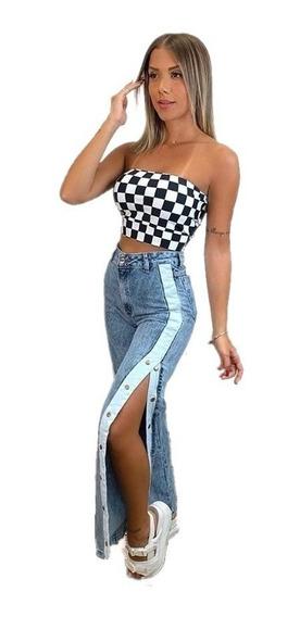 Calça Jeans Feminina Botões Cós Alto Roupas Femininas Lin