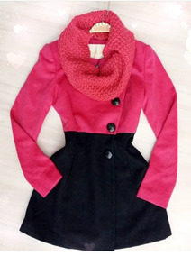 Casaco Vestido Pink E Preto Com Gola Trico Tam 38