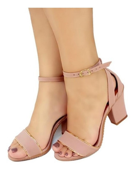 Sandália Salto Médio Baixo Rosa Claro Elegante Bellatotti