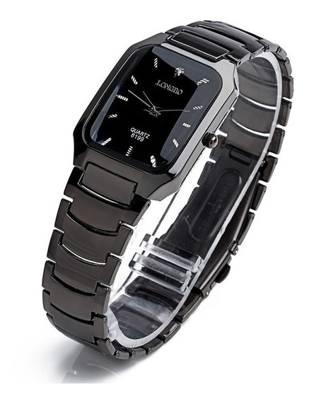 Relógio Feminino Masculino Longbo Quadrado Preto Cromado