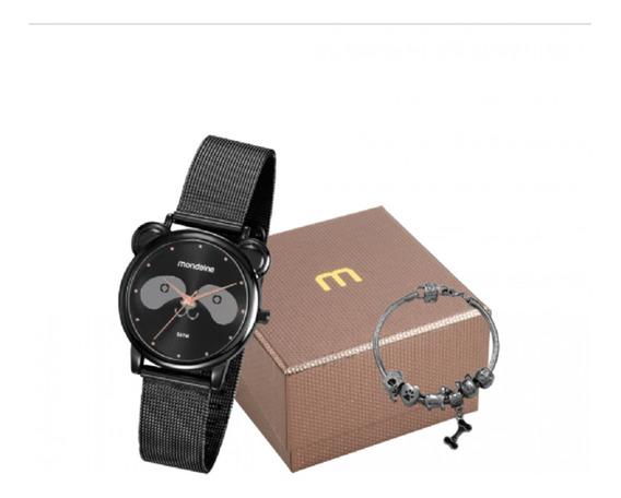 Relógio Feminino Mondaine Preto Pet Urso Panda 53784lpmvpe2k