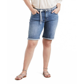 Shorts Jeans Levis Feminino Shaping Plus Size Azul Médio