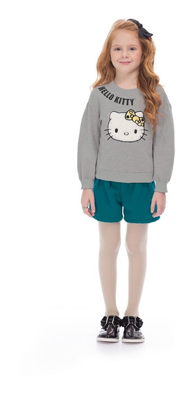 Conjunto Blusão E Shorts Infantil Hello Kitty