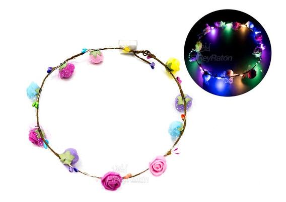 12 Diademas Corona Tiara De Flores Con Luz Princesa L21