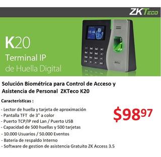 Reloj Biometrico Control De Asistencia Accesos Huella K20
