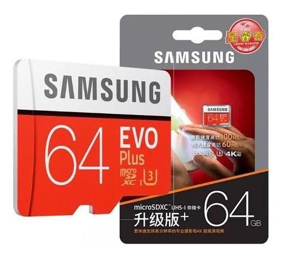 Cartão Micro Sdxc Samsung Evo 64gb Classe 10 100mbs Uhs-3 4k