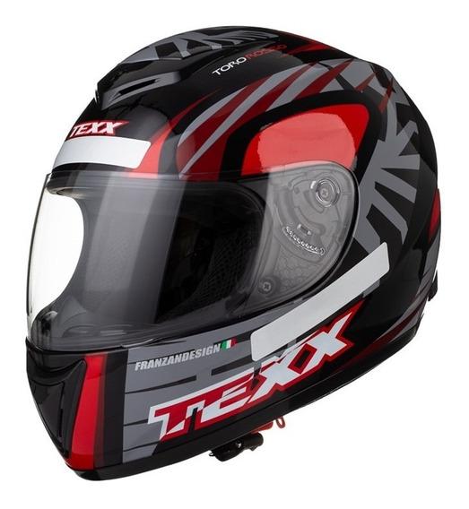 Capacete Texx Like Viseira 2mm Toro Rosso Preto Com Vermelho