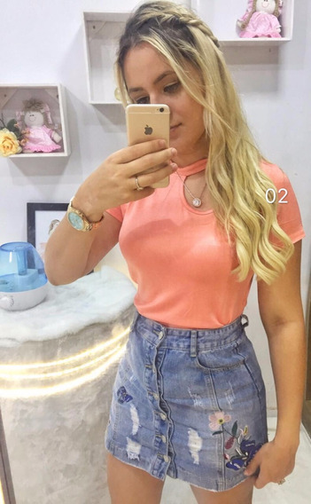 Blusa Camisa T-shirt Feminino Liso Gola Alta Verao Importado