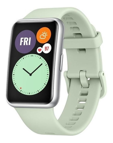 "Huawei Watch Fit 1.64"" caja de  fibra polimérica  silver malla  green mint de  silicona TIA-B09"