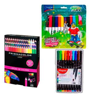 Kit 48 Colores Prismacolor +10 Rotuladores +12 Plumones