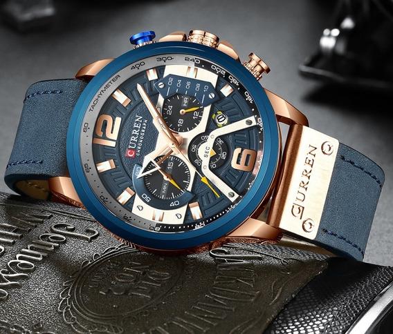 Relógio Curren 8329 P. De Couro Cronógrafo De Quartzo Multif
