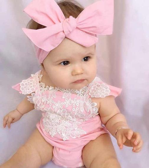 Conjunto Body De Bebe Menina Macacão Faixa Laço Infantil