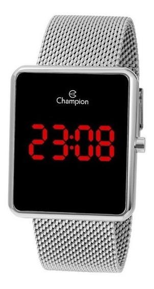 Relógio Champion Led Vermelho Ch40080t Prata Quadrado + Nfe