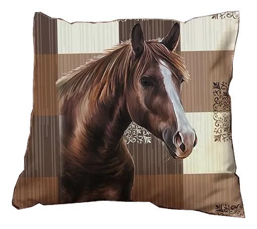 Capa De Almofada Listrada Moda Decoração Cavalo C2009