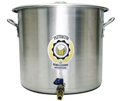 Caldeirão Panela Cervejeira Alumínio C/ Registro 15,3l -28cm