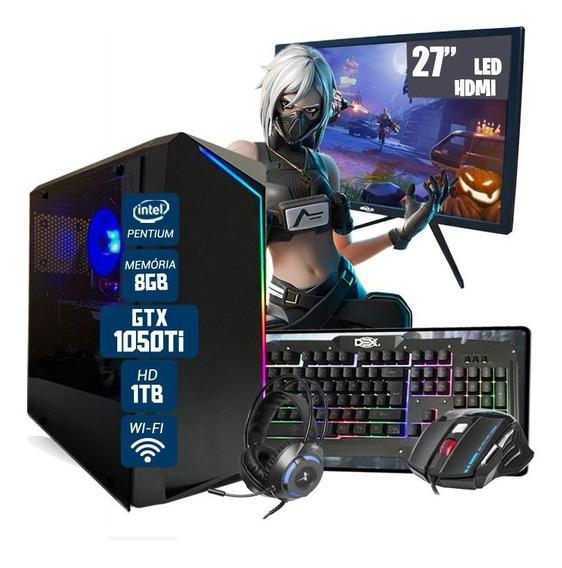 Pc Gamer Invictus Intel 6°gera Gtx1050 8gb Hd1tb Monitor 27