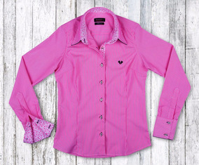 Camisa Social Feminina My Cris Listrada Rosa Slim Fit