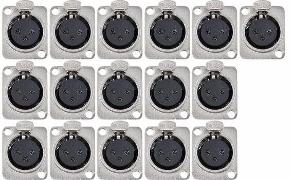 Kit 16 Plug Xlr Painel Femea Tblack - Loja