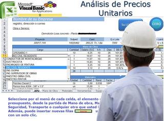 Sistema Análisis Precios Unitarios, Excel Macros Ver Video