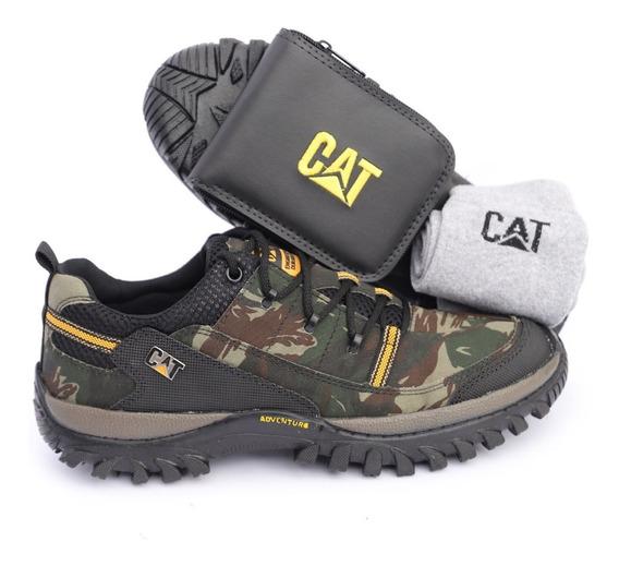 Sapato Sapatênis Caterpillar Camuflada Exércitos Brinde