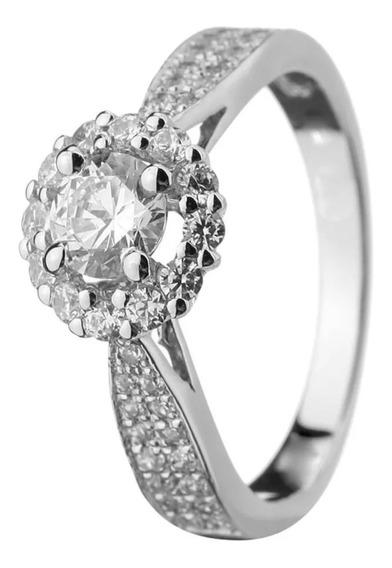 Anel Solitário Em Ouro Branco Com Diamante De 60 Pontos