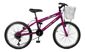 Bicicleta Aro 20 Serena Plus 7 Marchas Violeta Master Bike