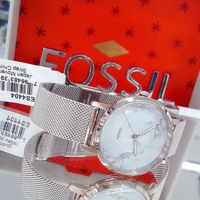Relógio Fossil Feminino Es4404 Ouro Rose 18k Branco Original