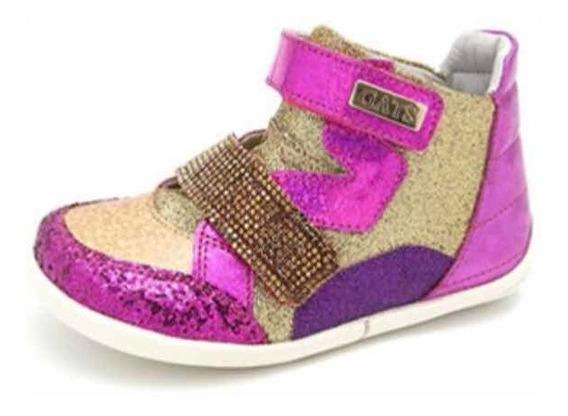 Sneaker Couro Gliter Pink E Dourada - Gats Concept