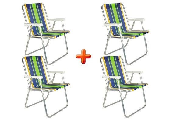 Kit 4 Cadeiras Dobráveis De Praia Mor Alta