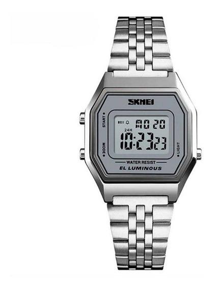Relógio Feminino Skmei Digital 1345 Prata C/ Garantia E Nf