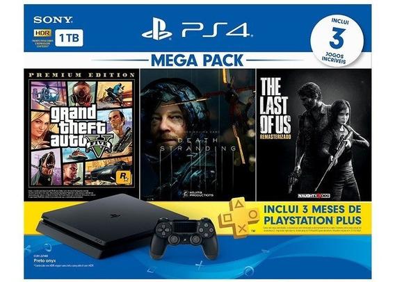 Console Playstation 4 Hits 1tb Bundle V09 + 3 Jogos Ps4 Gta
