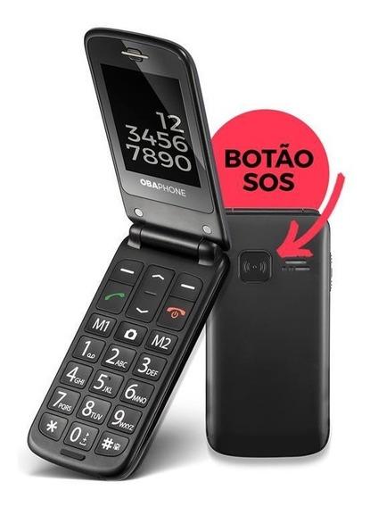 Oba Fone Flip Celular Para Idosos Obabox