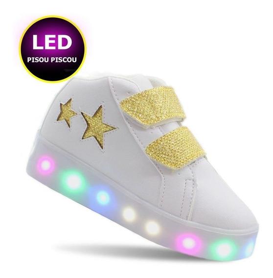 Tenis De Led Infantil Estrela Branco Dourado Feminino Barato